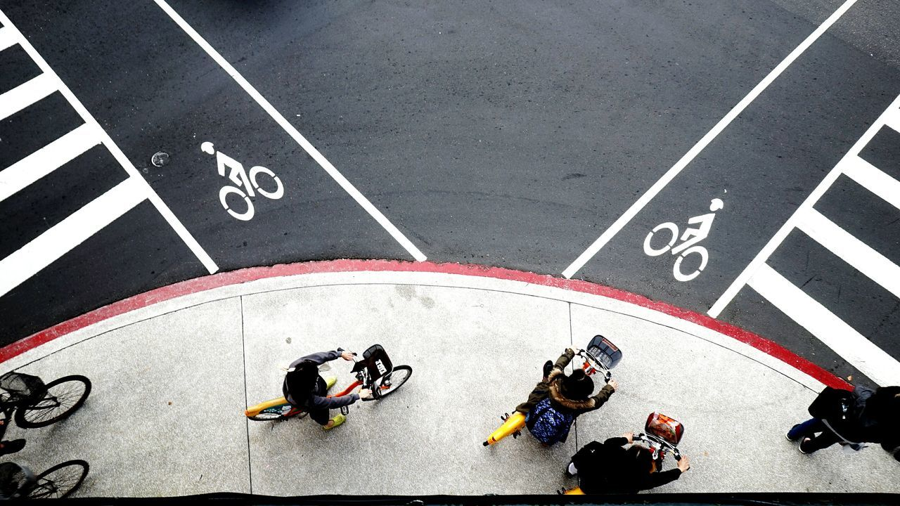 High Angle View Competition Sports Race Outdoors Sports Track Starting Line Streetphotography Flying High On The Road Running Track Cityscape Urban Lifestyle On Your Bike Millennial Pink