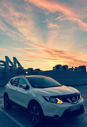 Car Sunset Sky My Car Nissan Qashqai Nissan My Car❤️ White Car Nissanlovers Cars City City Life Outdoors Urban Skyline