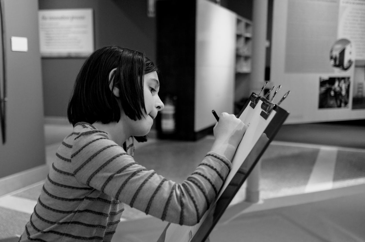 Still life. One Person One Woman Only Sitting Young Adult Art Drawing Museum Leaning Forward Black And White Concentration Working Hard Sketching Monochrome Child ArtWork Real People