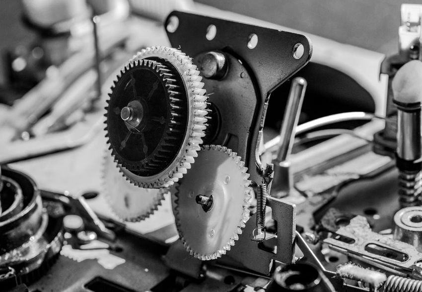 Antique Black Color Blackandwhite Photography Close-up Day Detail Equipment Focus On Foreground Machine Part Machinery Macro Photography Man Made Object Mechanics No People Part Of Selective Focus Shiny Still Life The Past VHS Recorder Vintage Technique Work Tool
