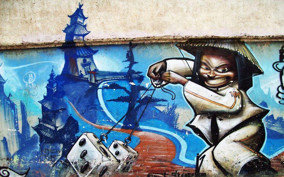 Architecture Art And Craft Art Is Everywhere Artist Blue Break The Mold Close-up Creativity Day Graffiti Human Representation Multi Colored Oriental Design Outdoors People Street Art Street Art/Graffiti Streetphotography Youth Culture