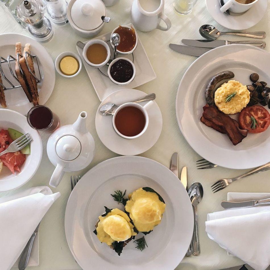 Hotel Breakfast Eggs Florentine Full English Breakfast