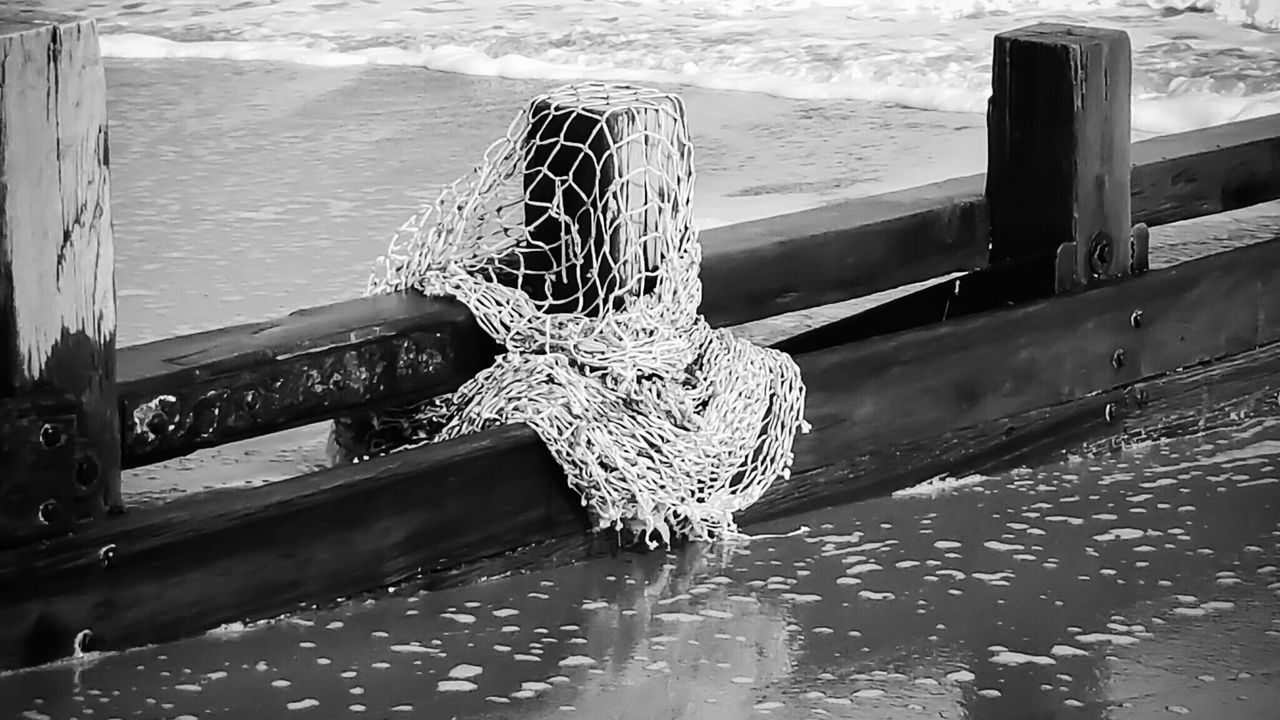 Re-edited Blackandwhite Groyne Fishing Net Discarded Wood Wooden Post Beach Sand Beauty