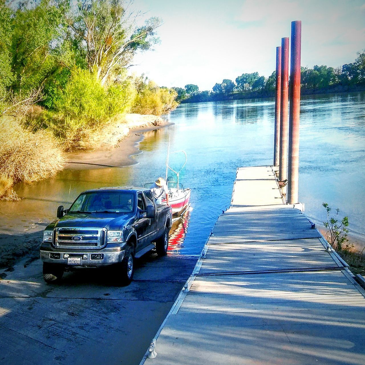 Riverside View Shadow Photography Sacramento River This Week On Eyeem Reflections In The Water My Photography Reflection On Water Water Reflections Boat Life Boat My Point Of View Nature On Your Doorstep Taking Photos Tree And Sky Trees Truck Boat Ramp