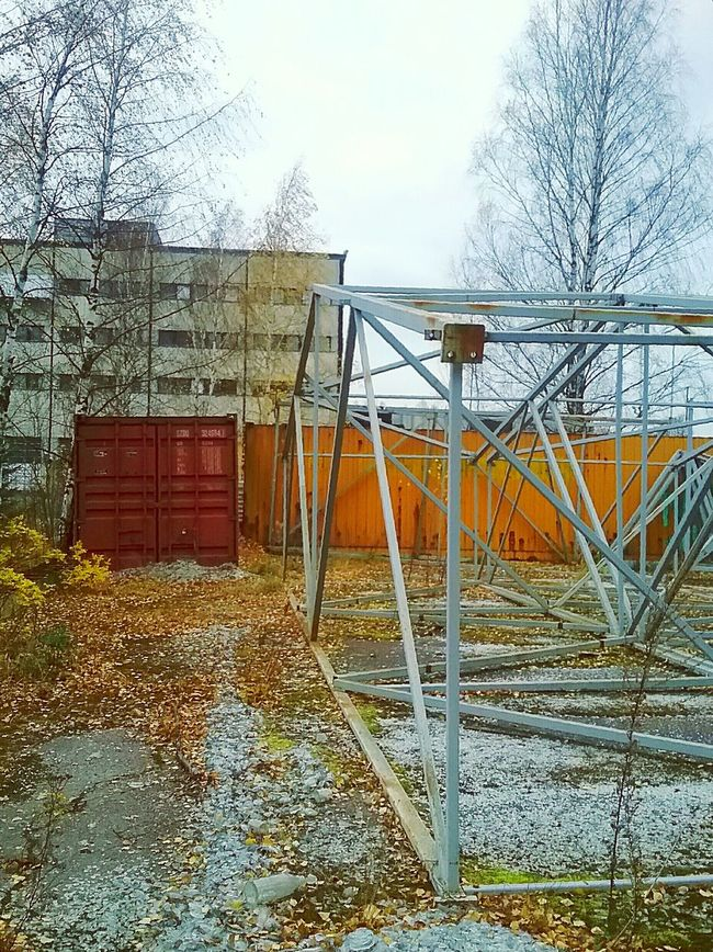 Urban Abandoned Places Schrapnel Broken Glass Industrial Area Structure Steel Structure  Frames Red And Orange Autumn Autumn Weather No People Autumn Leaves Containers