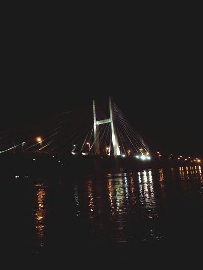 Bridge Iowa Night Mississippi River