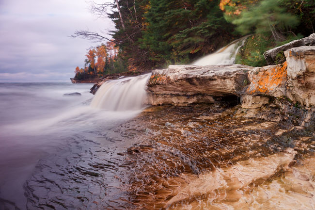 Beauty In Nature Blurred Motion Flowing Lake Superior Lake Superior Upper Michigan Shore Landscape Long Exposure No People Pure Michigan Rock - Object Running Water Stream - Flowing Water Upper Peninsula Waterfall