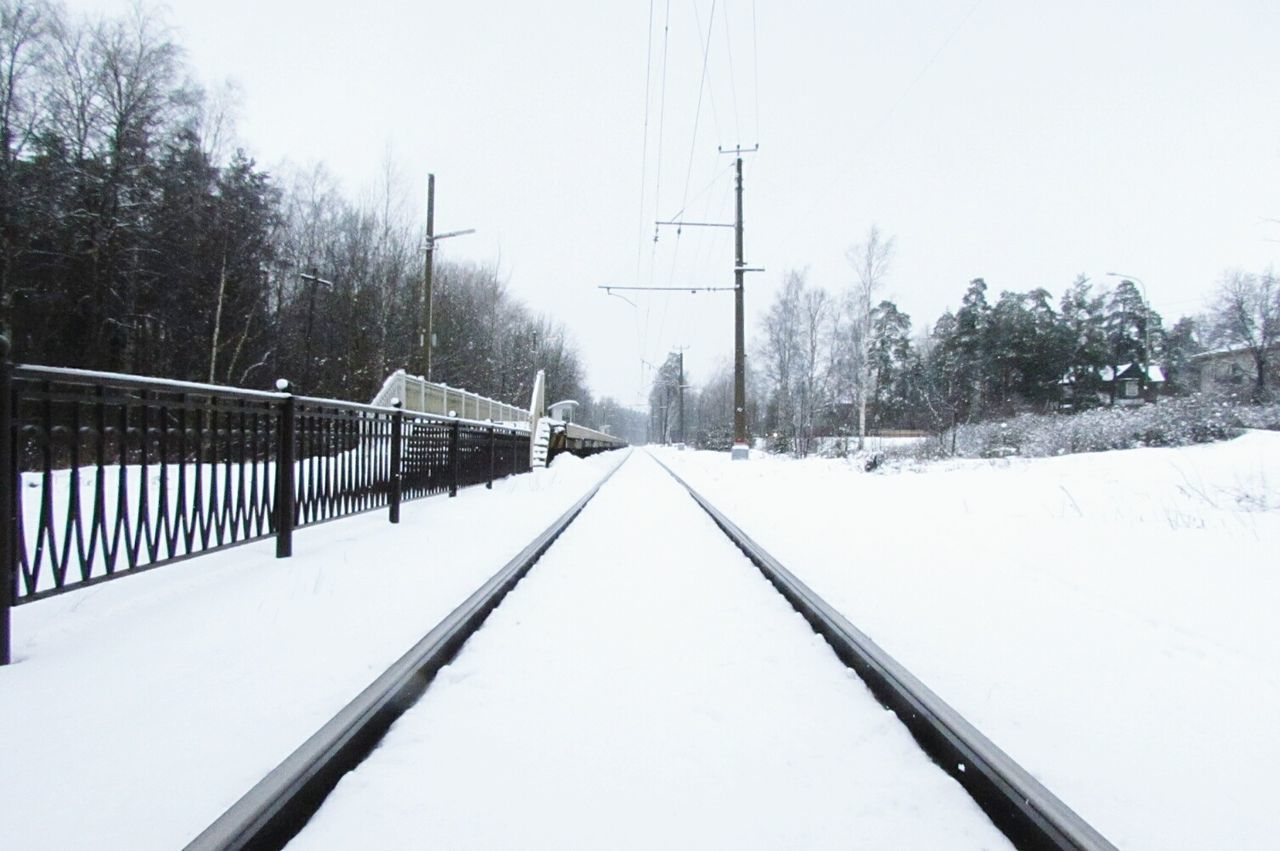 Snow Winter Cold Temperature Tree Snowing No People The Way Forward Outdoors Nature Day Station Platform Station Station Train Train Train Station