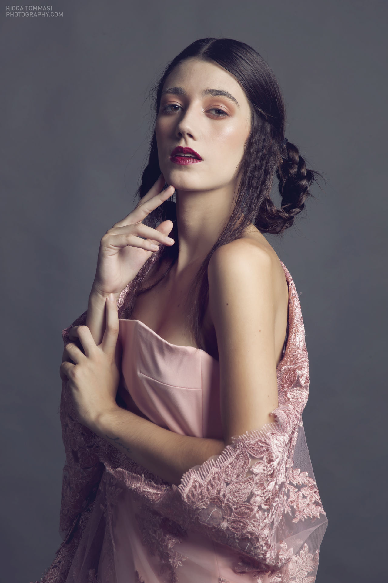 Lara. Lady of Millennial Pink Beautiful Woman Evening Gown Glamour Lace - Textile Millennial Pink One Young Woman Only Portrait Portrait Of A Woman Studio Photography Studio Shot
