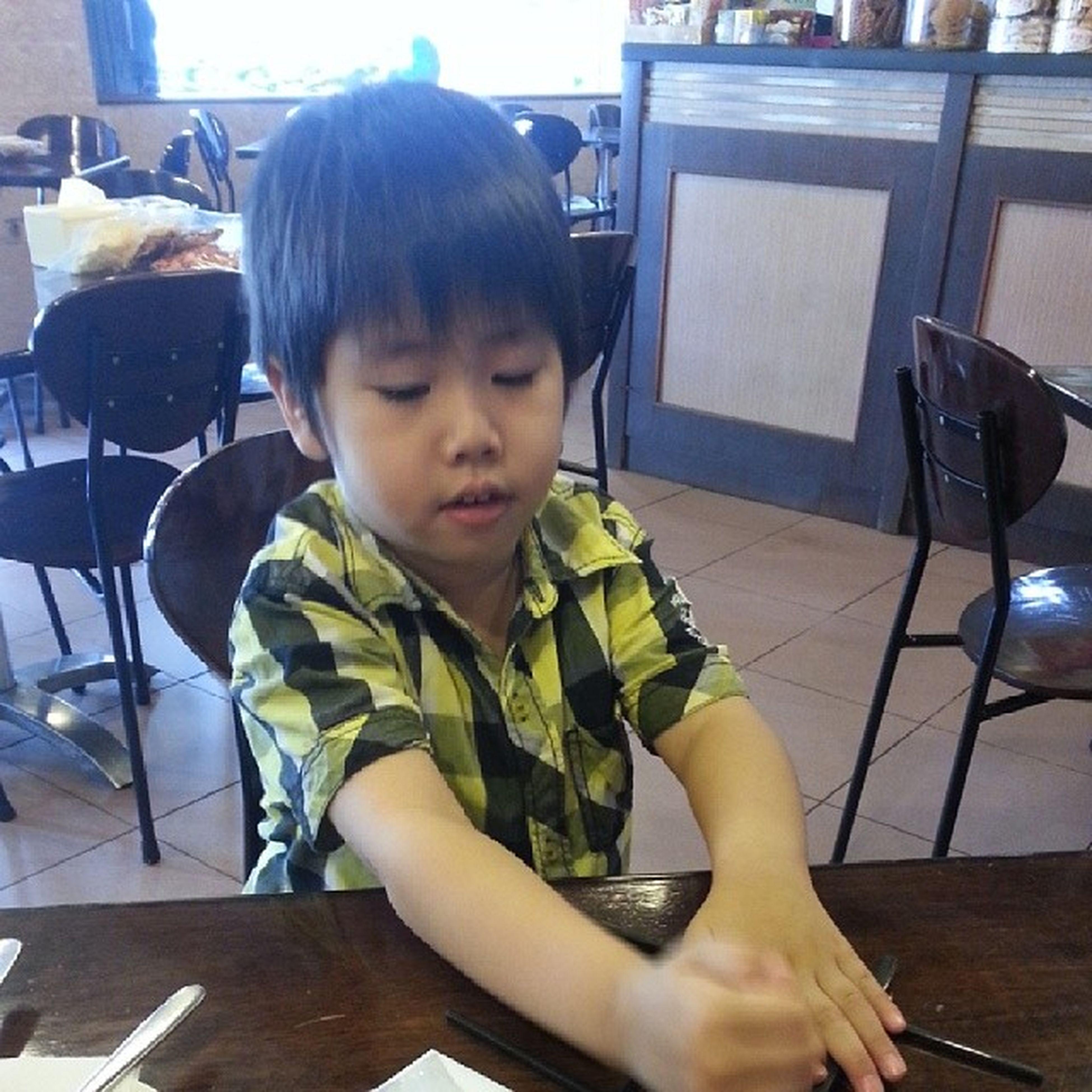 Always my naughty boy play chopstick...