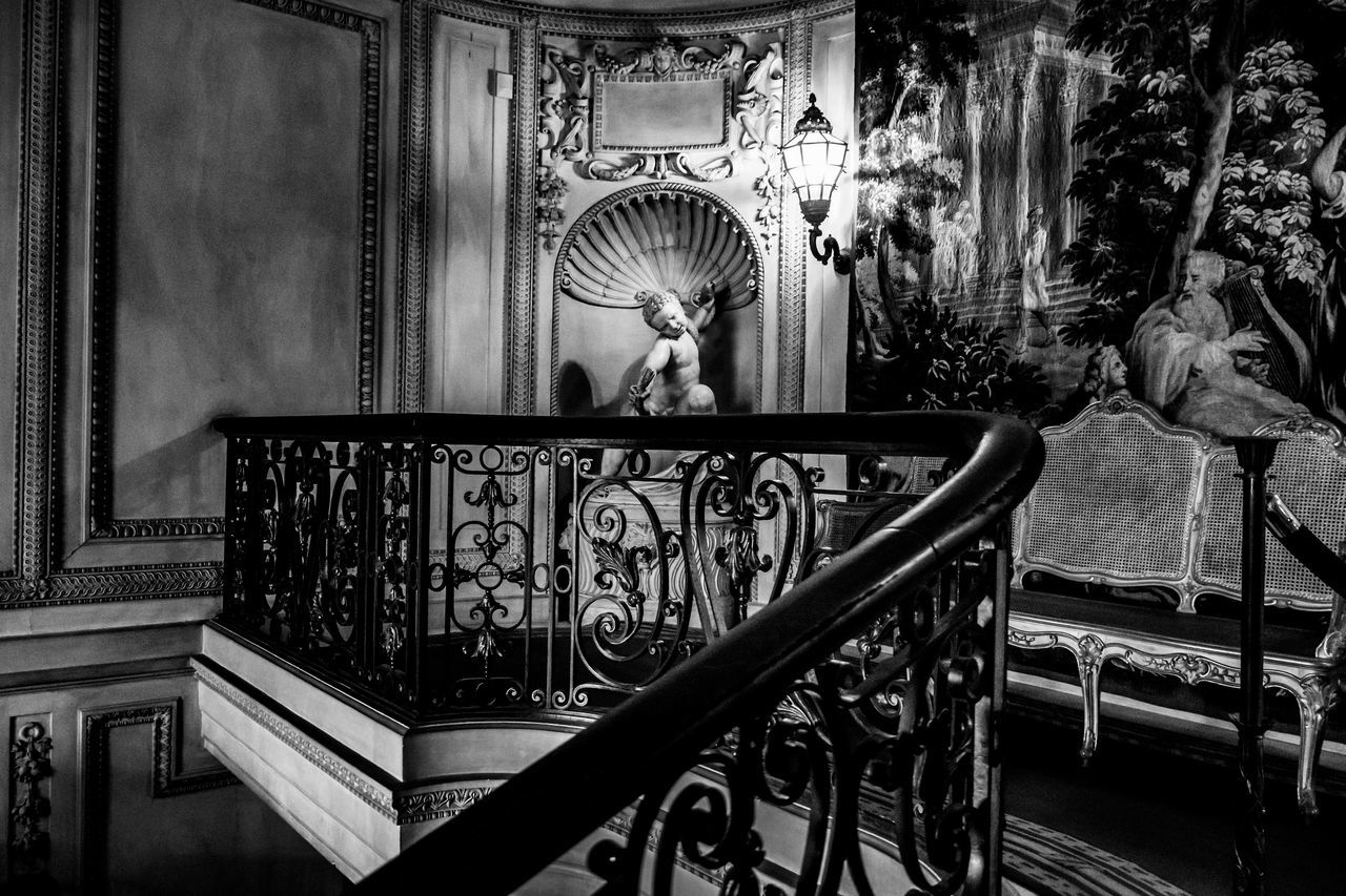 By the Light Architecture Art Black And White Built Structure Close-up Day Decor Fancy Indoors  Light Marble No People Railing Sculpture Shadow Statue Statue