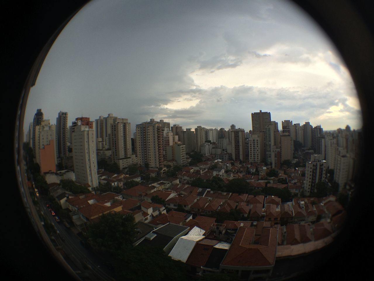 cityscape, architecture, skyscraper, city, building exterior, built structure, sky, modern, no people, fish-eye lens, day, urban skyline, indoors