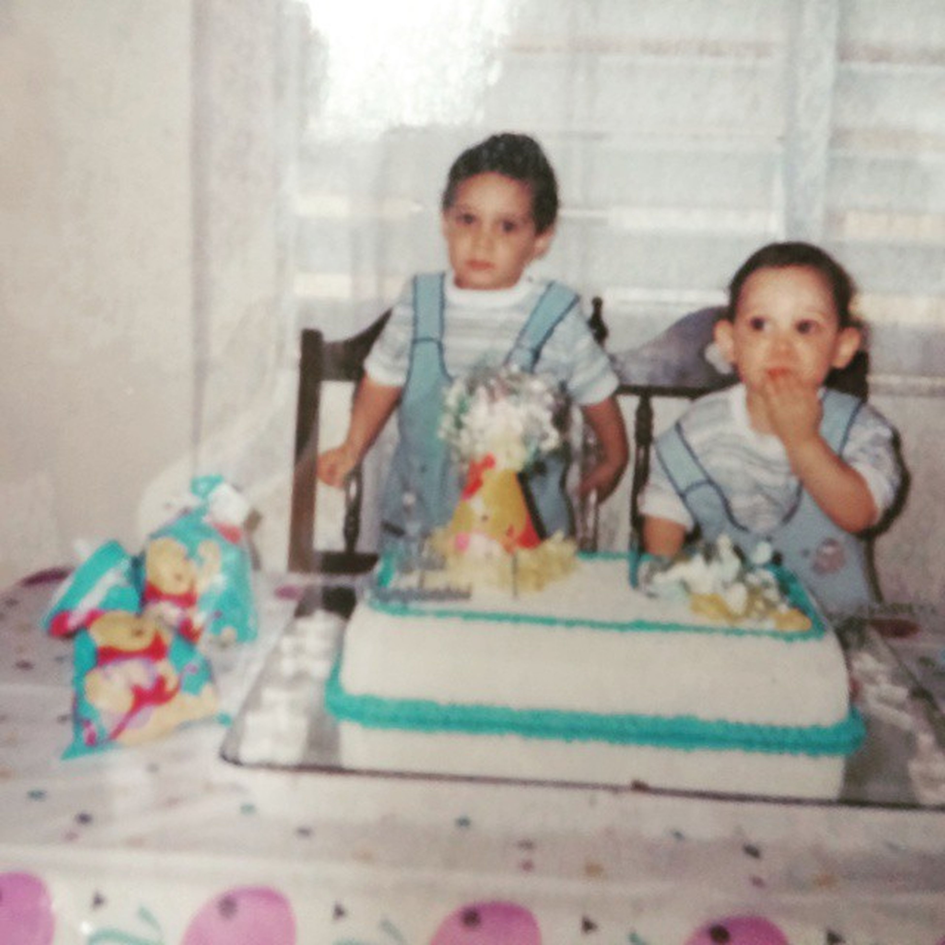 That kid on the right, that's me. TBT  Baby Birthday Matchingoutfitsthoe