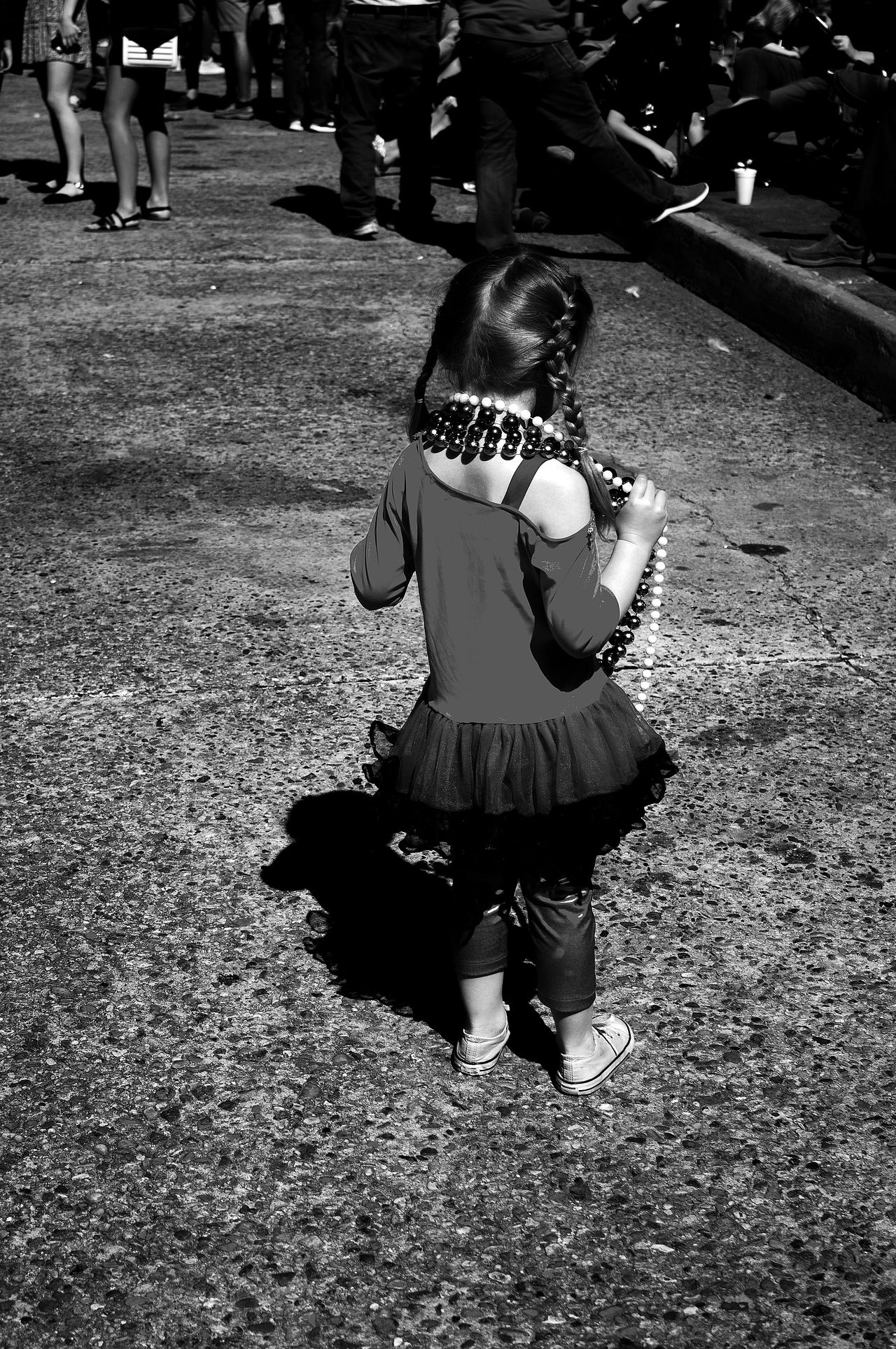 Black And White Photography Childhood Day Full Length Leisure Activity Lifestyles M Mardi Gras Mardi Gras Girl One Person Outdoors People Real People Rear View Traditional Clothing