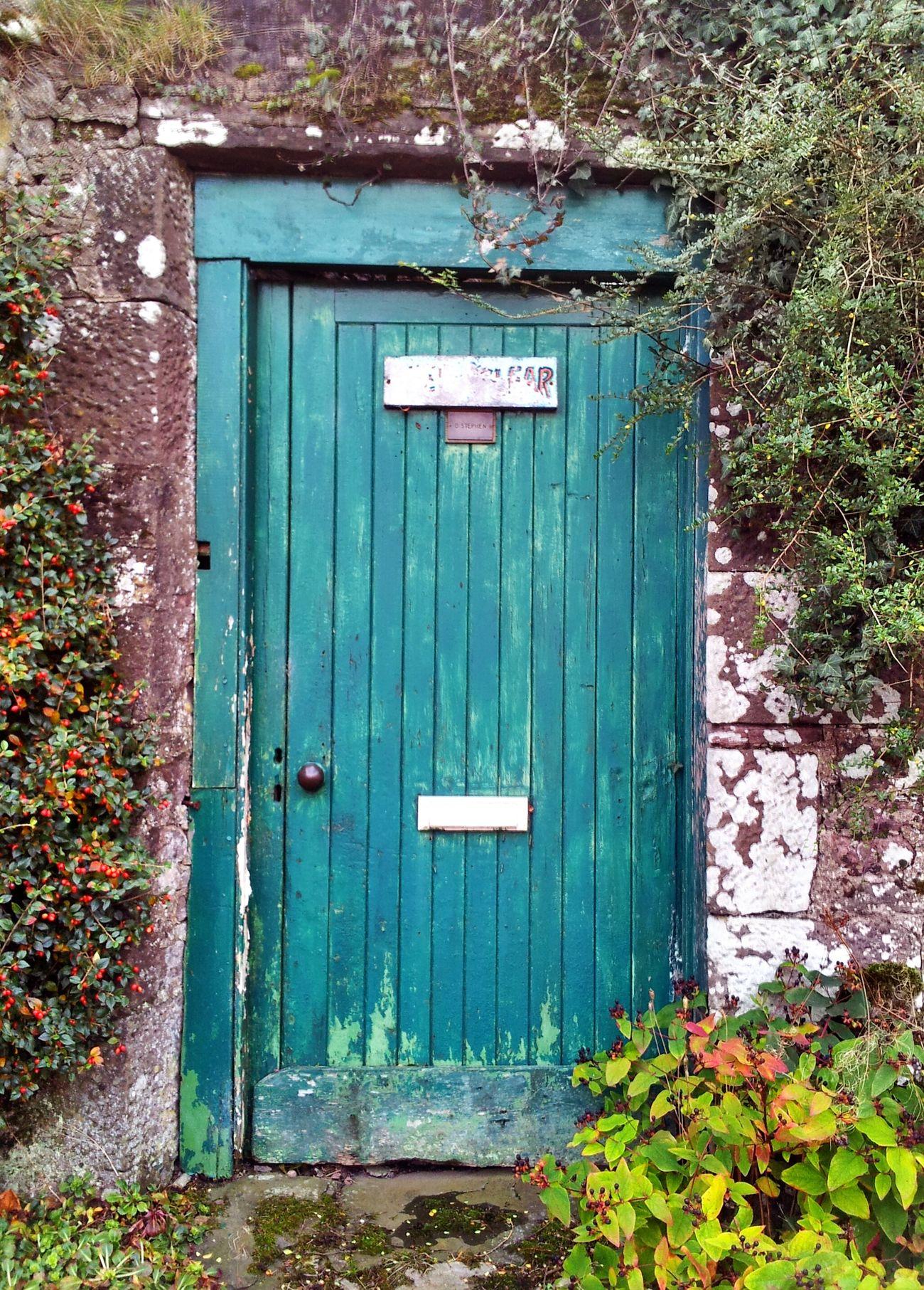 Secret Garden. Rustic Old Door Garden Charm