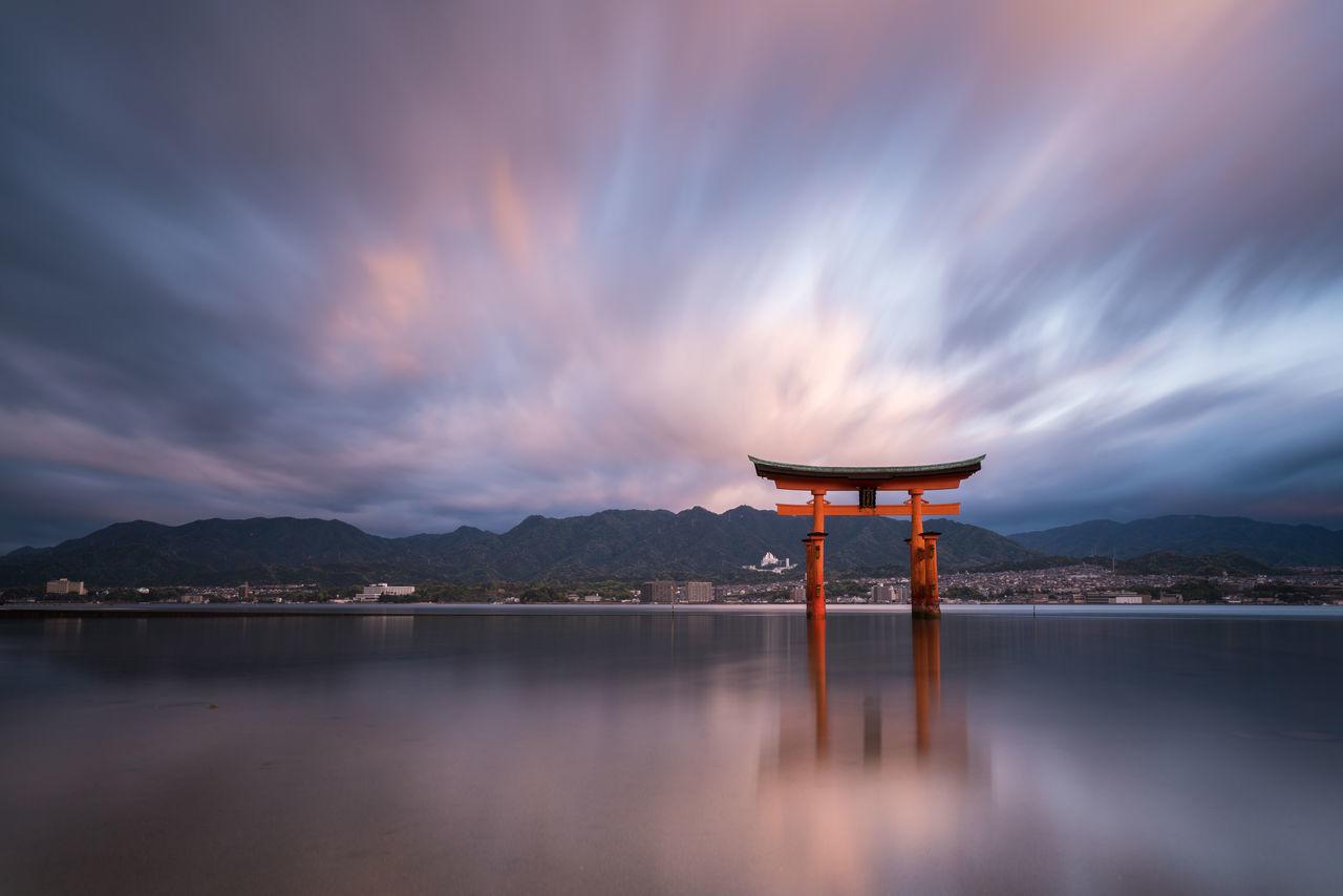 Torii Sunrise Architecture Budhism Built Structure Cloud - Sky Longexposure Morning Nature Reflection Scenics Sea Sky Sunrise Torii Gate Water