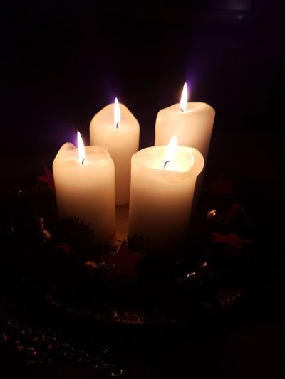Light Warmth Peace Peaceful Darkness And Light Advent Burning Candlelight Four Candles Illuminated No People Heat - Temperature