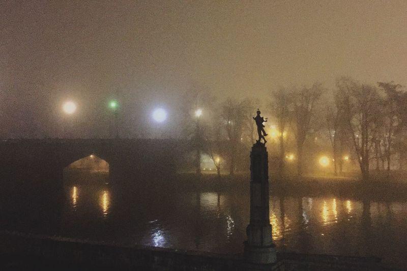 Fog in Prague, Czech Republic Fog Foggy Night Prague Praga♥ Sculpture Bridge River Vltava Vltava In The Fog