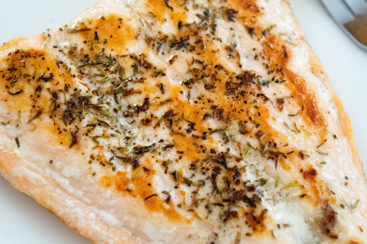 Baked Close-up Day Fish Food Food And Drink Fork Freshness High Angle View Indoors  No People Panseared Plate Ready-to-eat Salmon Seasoned Thyme White