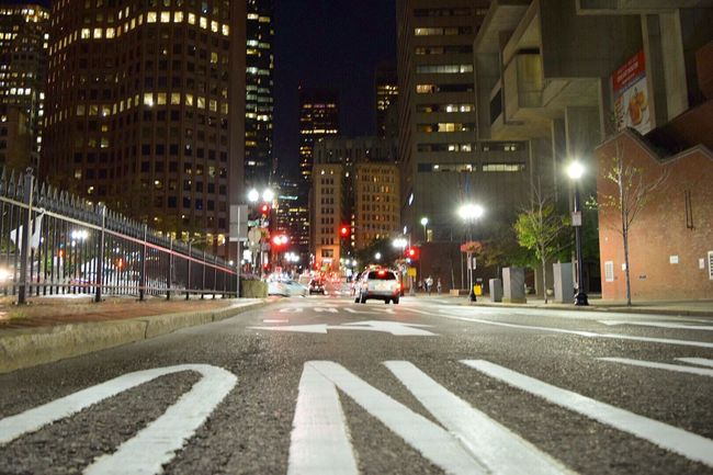 Night Illuminated City Street Citystreets Travel Destinations Boston Commonwealth New England  Nightphotography Night Lights
