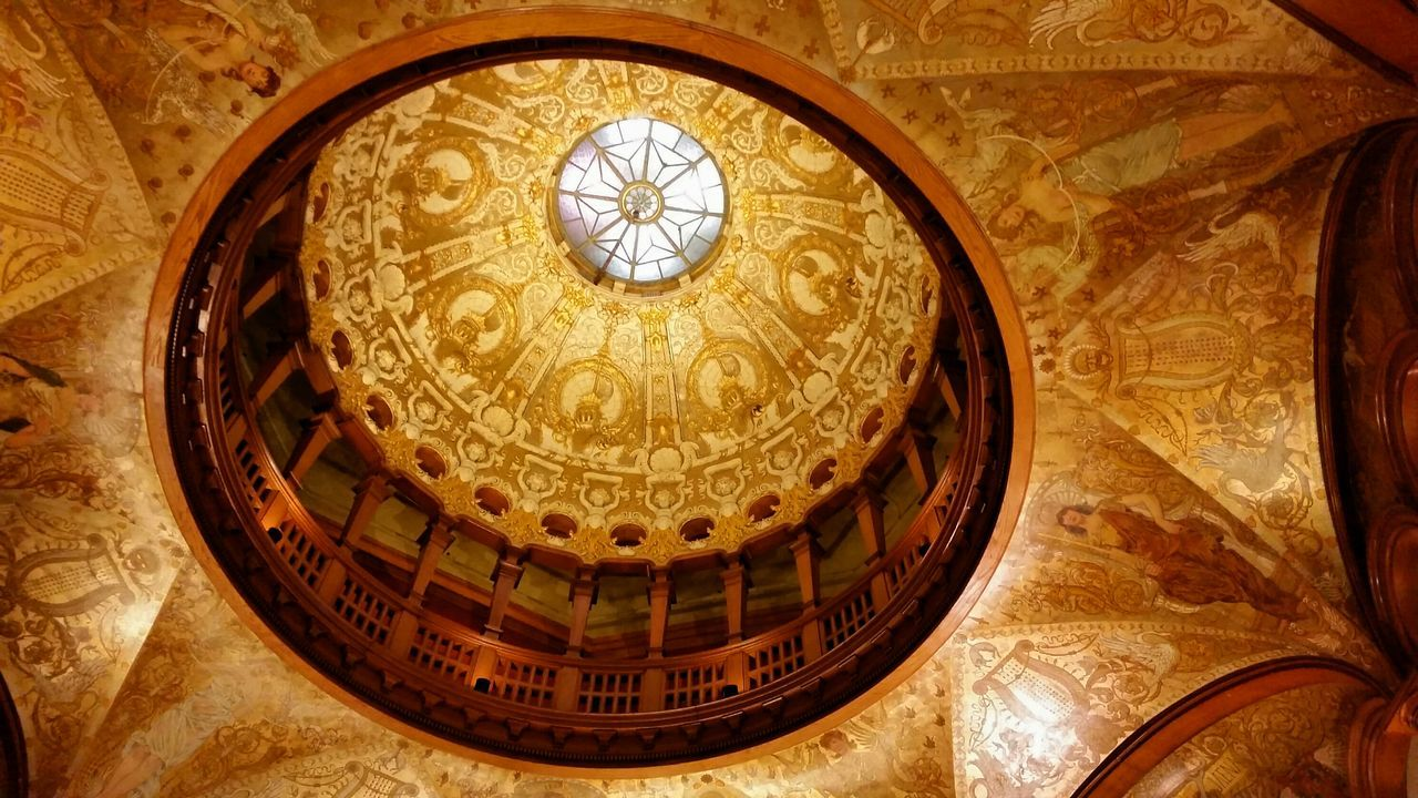 architecture, ornate, built structure, history, religion, place of worship, indoors, no people, low angle view, travel destinations, spirituality, cupola, dome, gold colored, renaissance, day, close-up