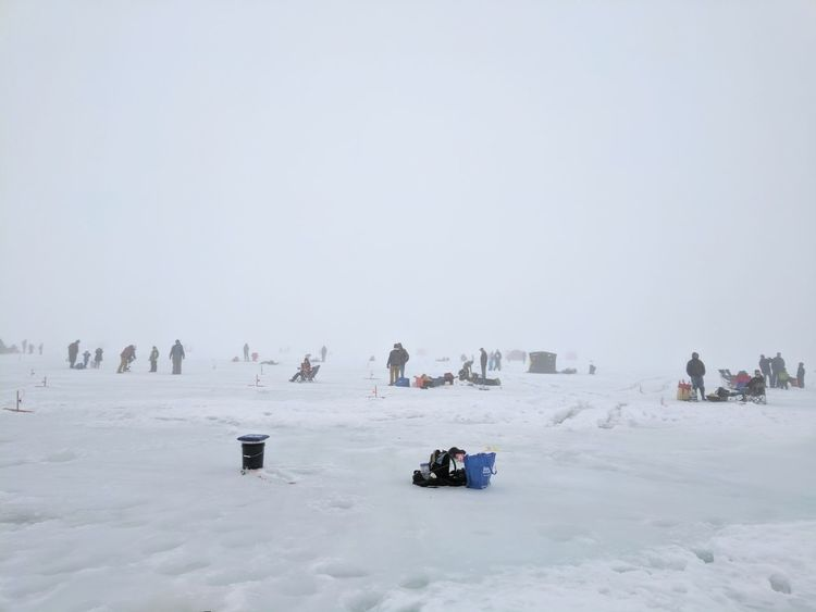 Snow Cold Temperature Winter Frozen Nature Outdoors Ice Fishing People Winter Sport Nature Foggy Day
