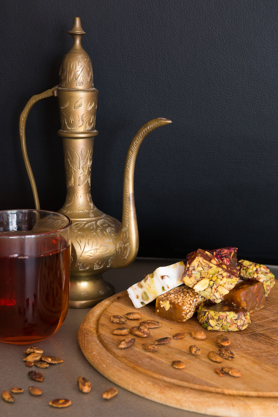 Black Background Close-up Food Freshness Gold Gold Colored Gourmet Healthy Eating Indoors  Jug No People Ready-to-eat Sweet Table Tea Turkish Delight Turkish Sweets