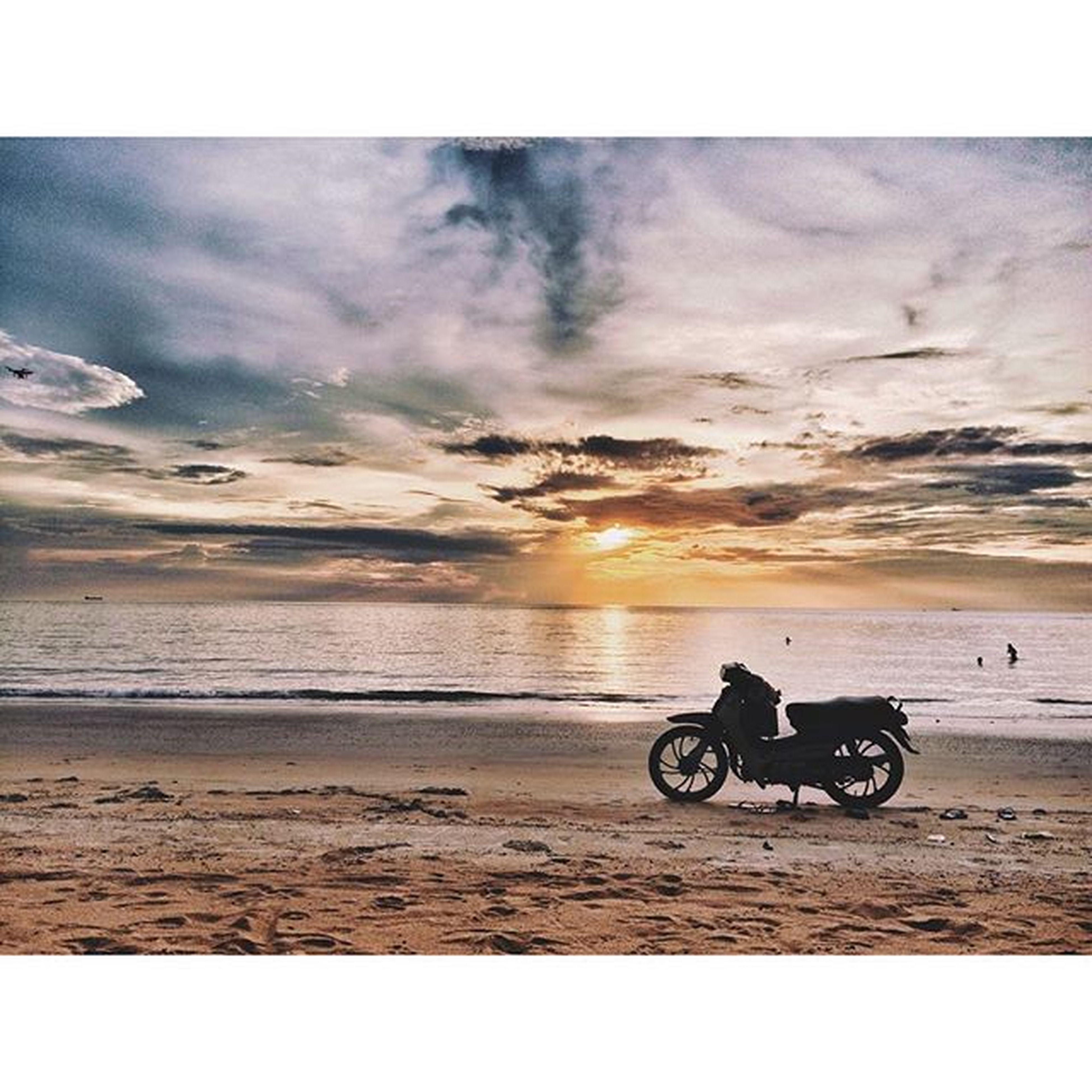 transportation, mode of transport, bicycle, sea, land vehicle, horizon over water, sky, beach, sunset, water, shore, men, scenics, auto post production filter, cloud - sky, beauty in nature, travel, leisure activity