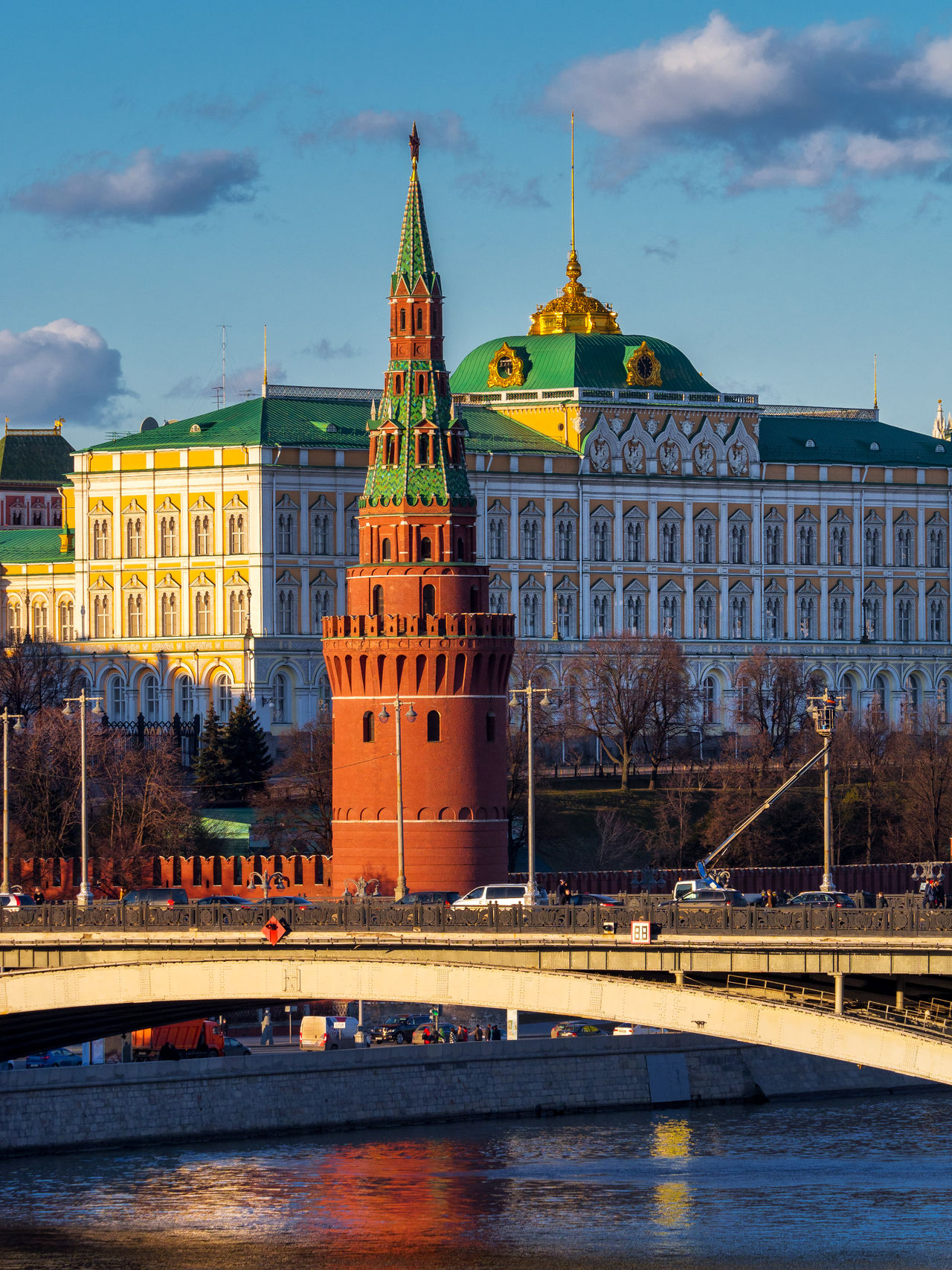 The Grand Kremlin Palace Architecture Building Exterior City Cityscape Clock Clock Tower Cloud - Sky Day Flag Government History Illuminated Moscow Moscow River No People Outdoors Politics Politics And Government Russia Sky Statue The Kremlin Tower Travel Destinations