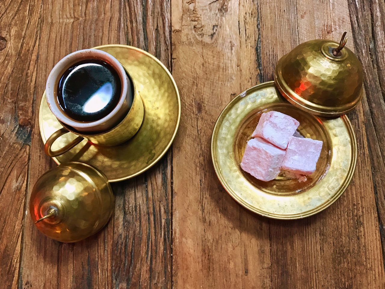 Table Directly Above Wood - Material No People Oriental Turkish Coffee Coffee Sweets Turkish Delight Lokum Old-fashioned EyeEmNewHere
