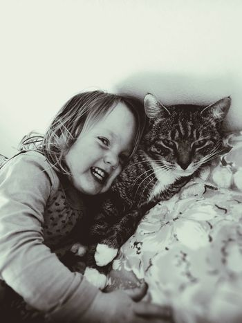 Monochrome Photography Black And White Smiling Cheerful Close-up Cats 🐱 Baby Love  Milla