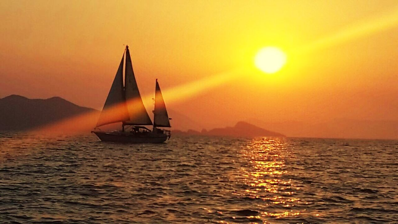 Sunset Sea Water Orange Color Sun Nature Beauty In Nature Ships⚓️⛵️🚢