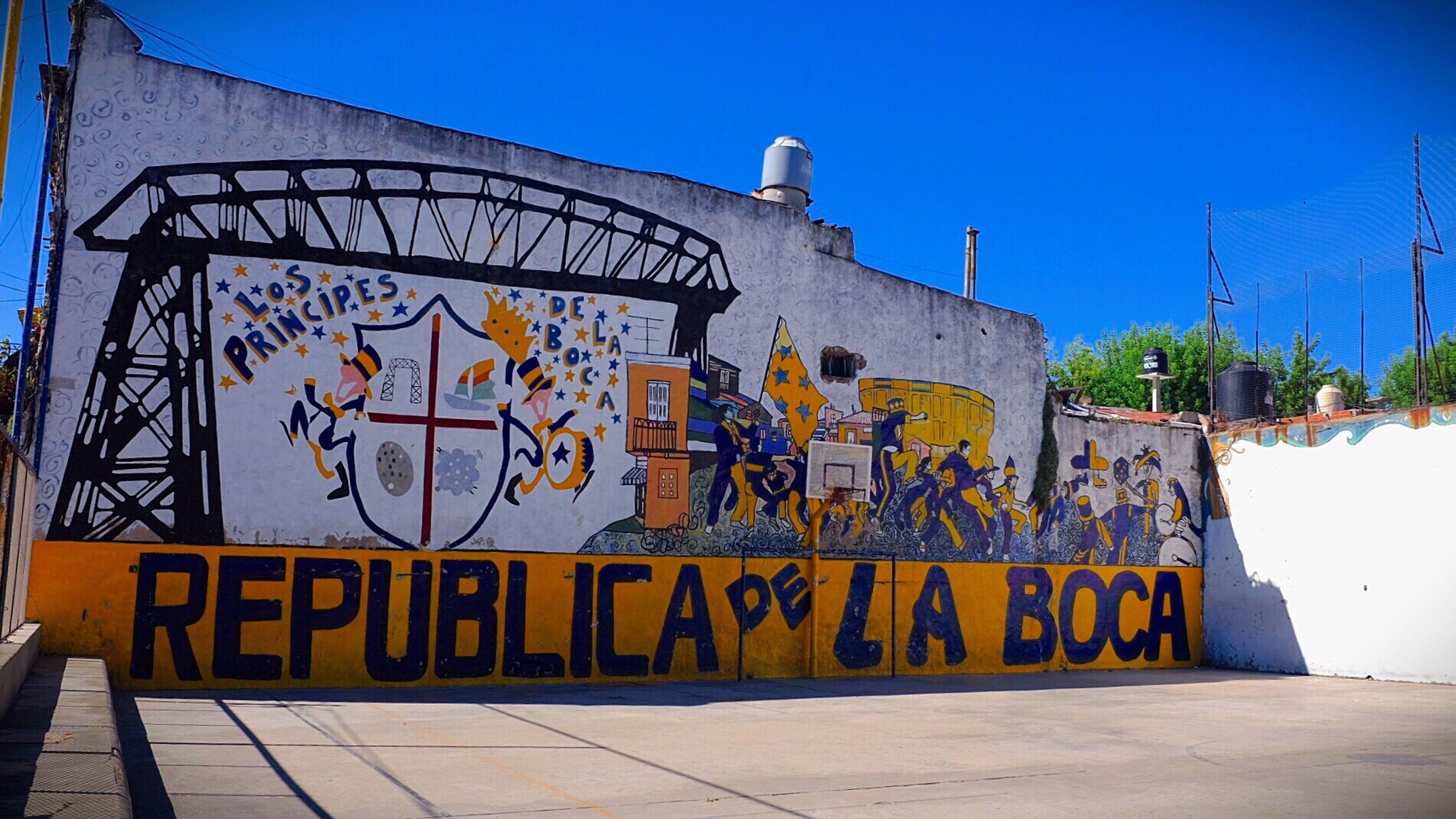 graffiti, street art, blue, city, outdoors, day, no people, amusement park