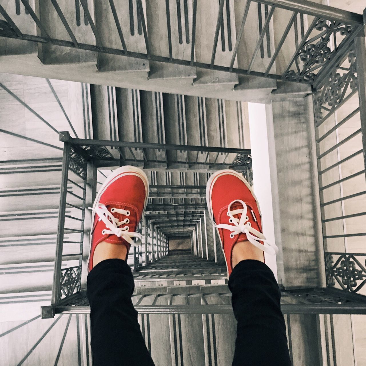 Took this photo for Vans Shoes 50th birthday! Shoes Staircase Perspective Spiral Looking Down Scary Leap Free Fall Fall Freefall Red Sneakers Vans Around Loop Stairs Bottom Jump Leap Float Faith