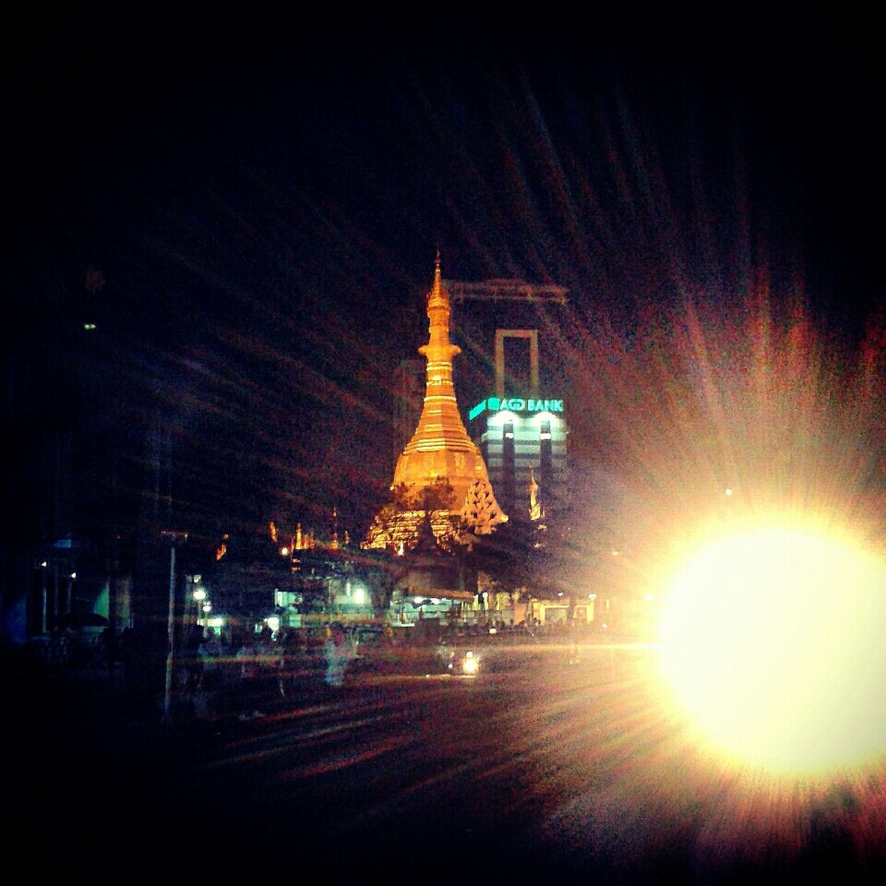 Sule pagoda at night, Yangon, Myanmar Street Photography
