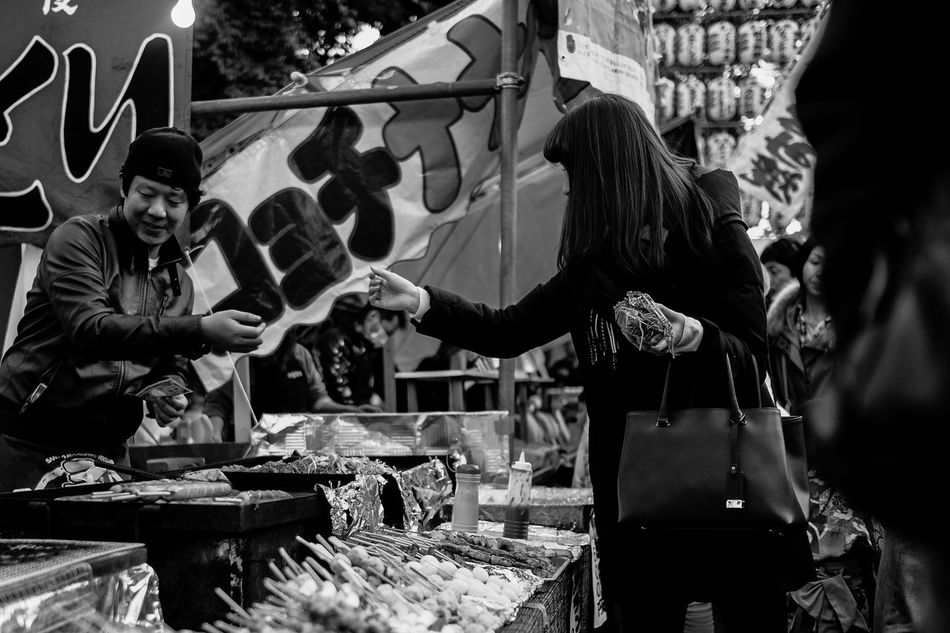 Black And White Blackandwhite Food Shopping Men New Years Day Festa Paying Real People Street Streetphoto_bw TOWNSCAPE Women Working Yakisoba The Street Photographer - 2016 EyeEm Awards The Portraitist - 2016 EyeEm Awards