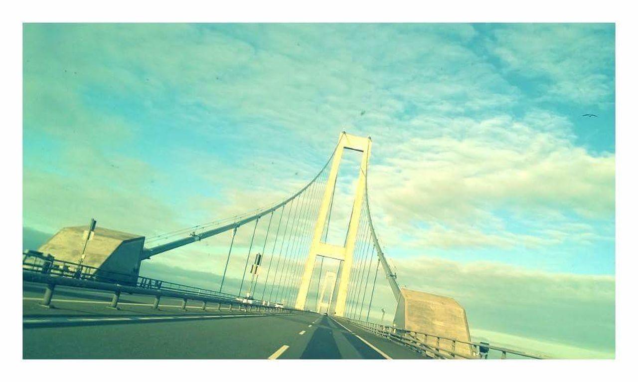 Sky No People Outdoors Connection Suspension Bridge Day Bridge - Man Made Structure Bridge Denmark 🇩🇰🇩🇰🇩🇰 Denmark, Danmark, Sky And Clouds Clouds On The Road On The Way Bro Skyer Storebæltsbroen Danmark