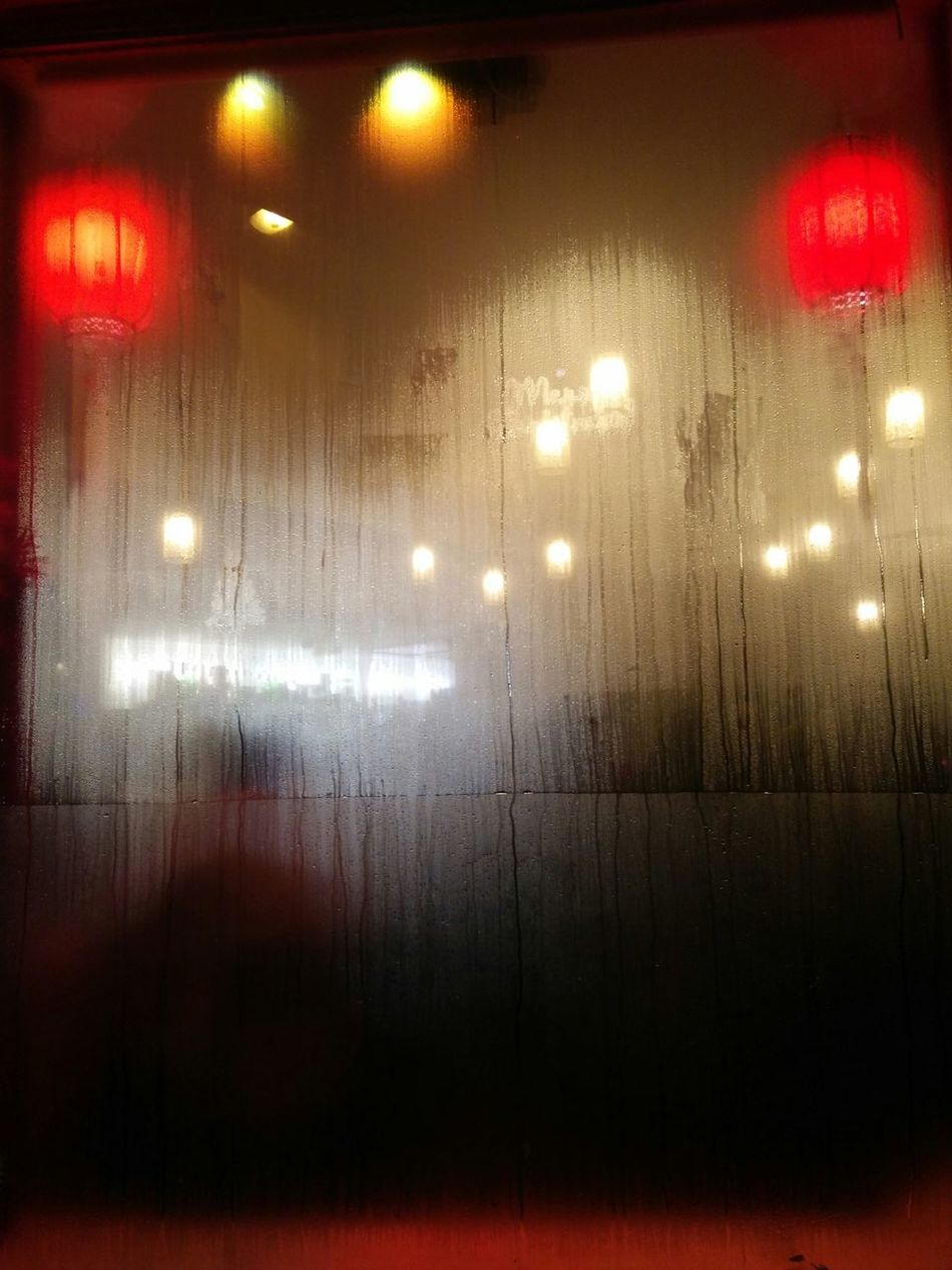 Lights Rainy Window Winter Rain On The Outside Looking In