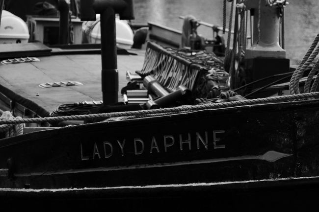 No People Outdoors Vehicle London City St.Katharines Docks Travel Ship Docks Name Daphne Blackandwhite Black & White Bla Monocrome Photography