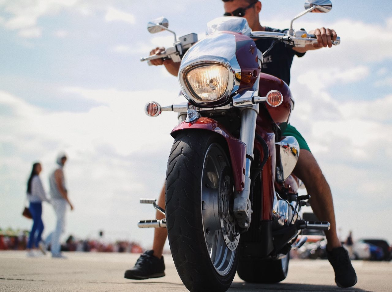 Cool ride... Sky Motorcycle Riding Mode Of Transport Outdoors Cloud - Sky Transportation Day Land Vehicle Men Road Helmet Real People Headwear One Person Adult People Ride My Favorite Photo Made In Romania Details Of My Life VSCO Summer Human Body Part Entertainment