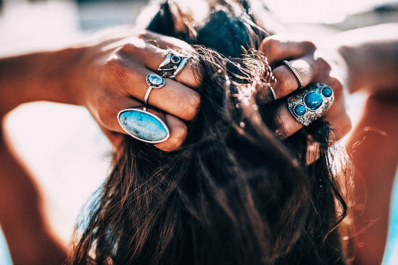 Close up of Women with bohemian style jewellery rings on hands Beach Bikini Bohemian Boho Boho Chic Brunette Close-up Day Fashion Hair Hair Style Human Hand Jewelry One Person Only Women Outdoors People Pool Rings Salty Hair  Sexygirl Style Summer Sun The Week On EyeEm