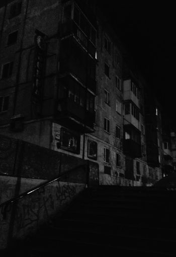 Small City Life in Murmansk Russia Black And White Monochrome Block Of Flats Night View Night Photography Night Walk