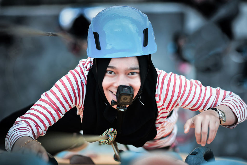 Adventure Time Climbing Girl Power Gopro Headwear Leisure Activity Leisure Games Leisure Time Looking Down One Person Outdoors People Sport Sports Helmet Taking Video Uniqueness Women Around The World
