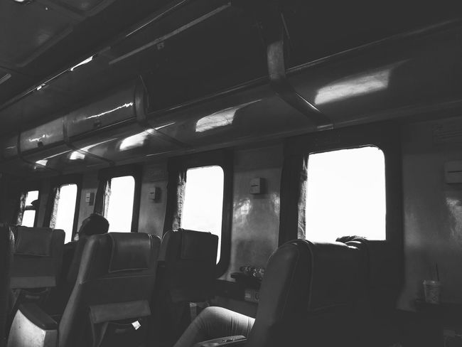 Window Indoors  Low Angle View Monochrome Photography On The Train