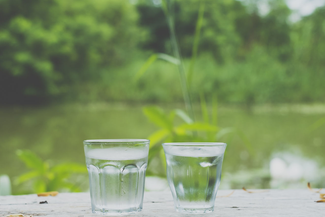 drinking glass, drink, refreshment, water, freshness, focus on foreground, food and drink, table, no people, day, outdoors, nature, alcohol, grass, close-up