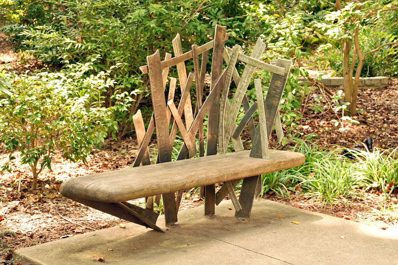 Park Seating 1 Atlanta Botanical Gardens Still Life Still Life Photography Bench Garden Wooden Bench Wood And Metal Metal Backrest Welded Cross Members Welded Art Abstract Art Welded Cross Angles Bench On Concrete Slab Landscape Landscape_photography Hardwood Garden Seating Landscape_Collection Landscape_lovers Lovers Bench