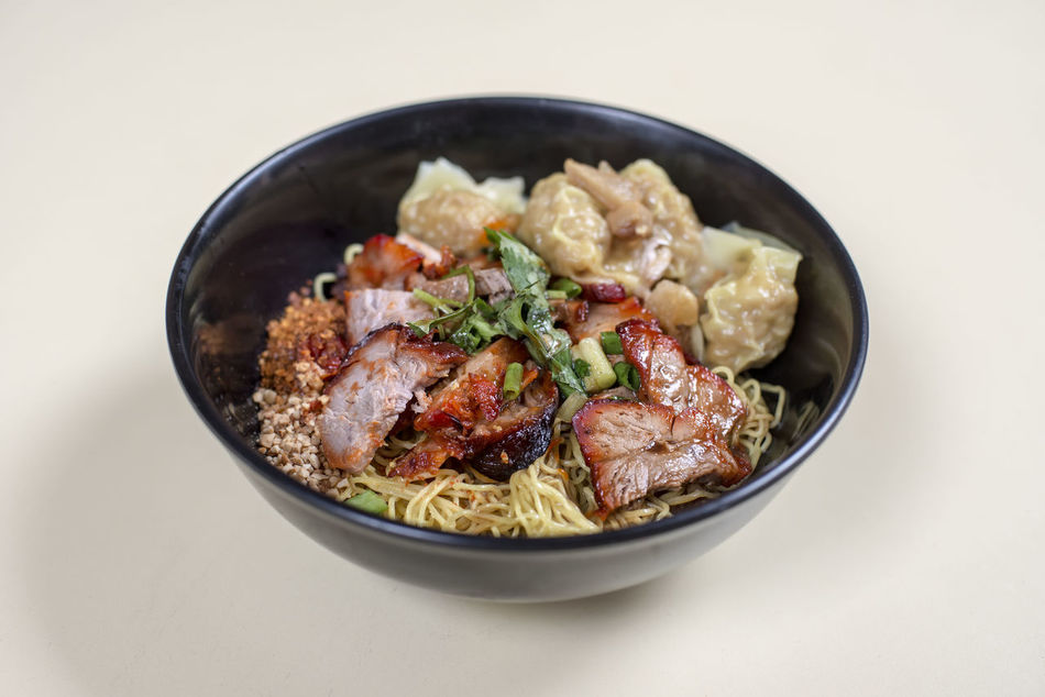 Thai Style Wanton Noodles Bowl Char Siew Charsiew Close-up Day Food Food And Drink Freshness Healthy Eating No People Ready-to-eat Thai Food Wanton Wanton Noodles White Background