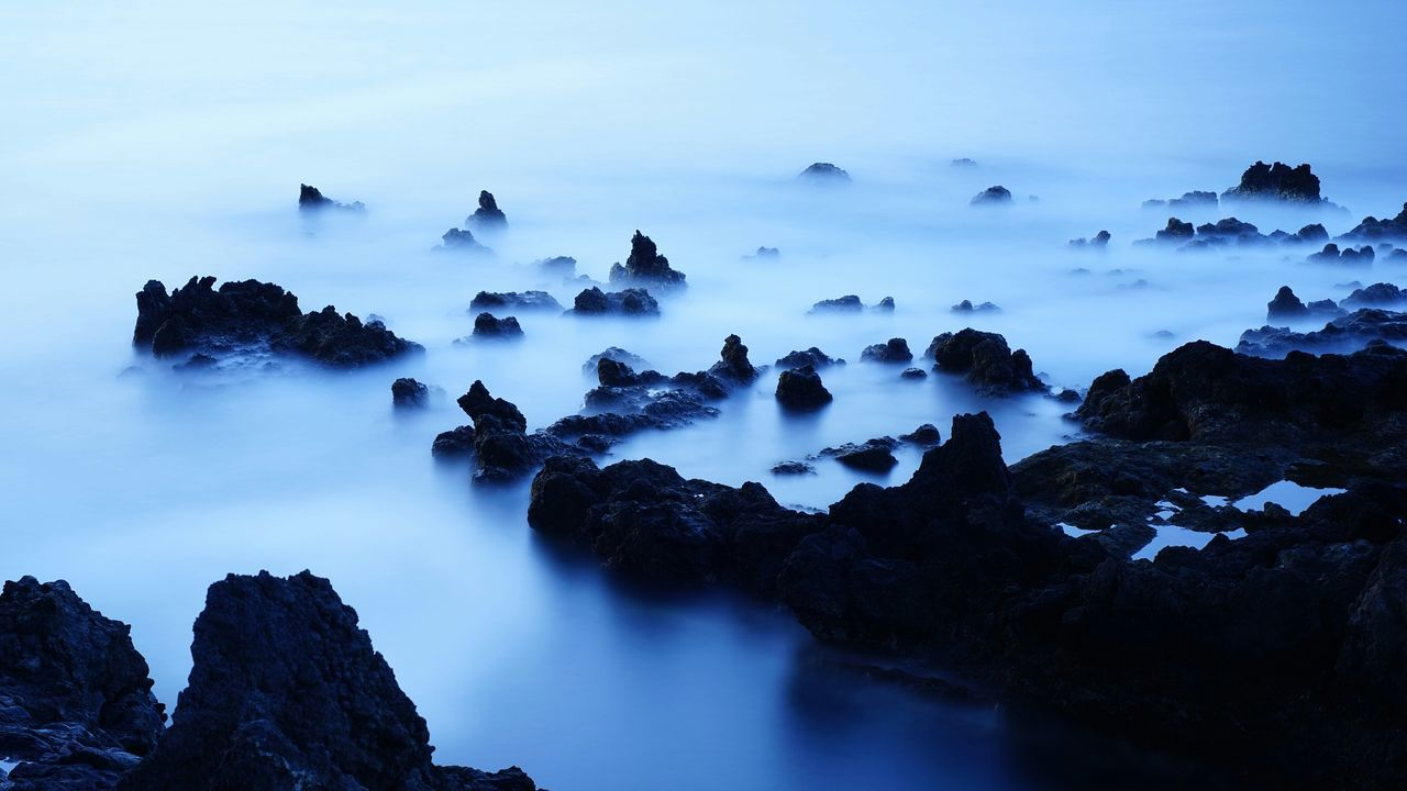 rock - object, beauty in nature, nature, scenics, sky, no people, water, outdoors, tranquility, long exposure, tranquil scene, day, motion