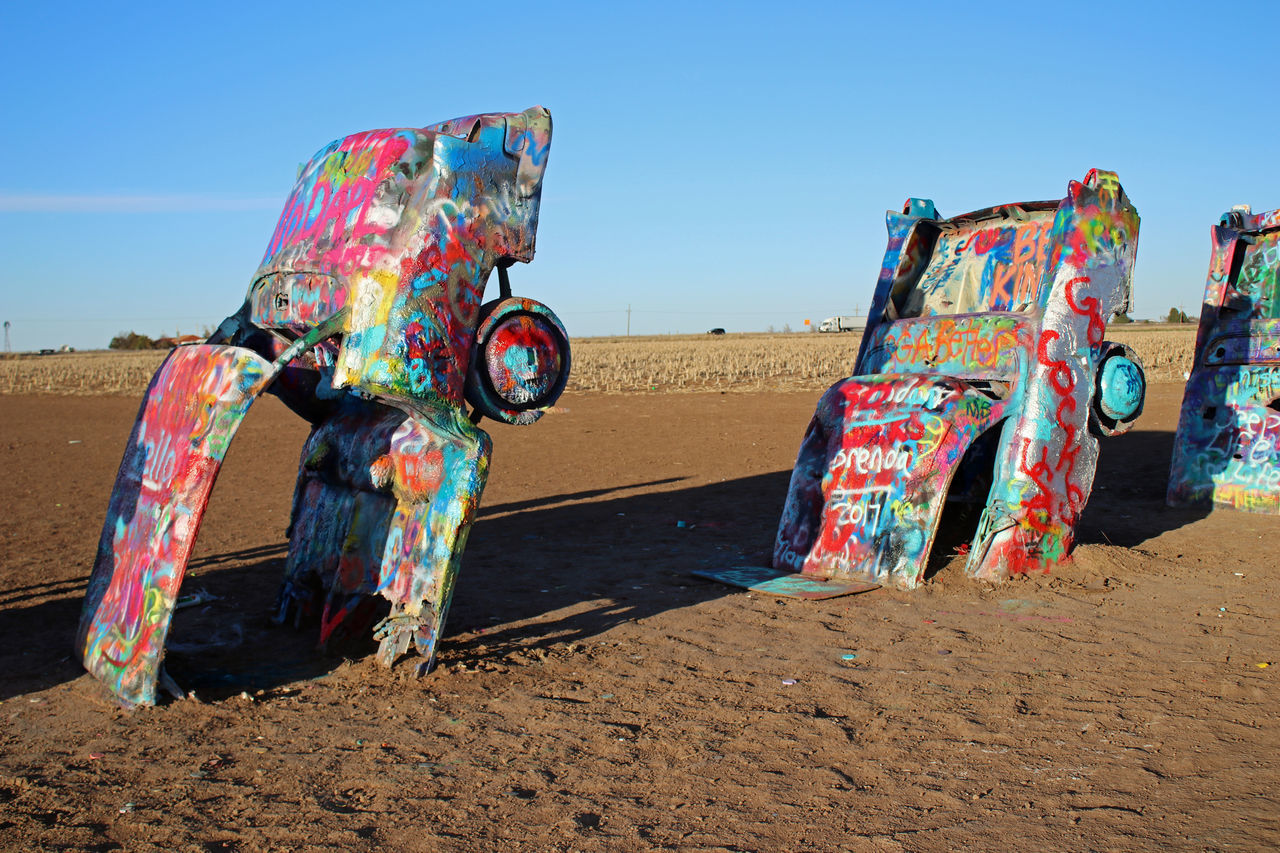 Cadillac Ranch...Amarillo,TX Art Artistic Car Day Multi Colored Outdoors Sky Spray Paint