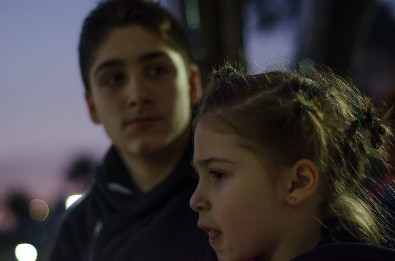 two people, real people, boys, focus on foreground, togetherness, childhood, leisure activity, love, close-up, lifestyles, headshot, young women, young adult, girls, day, indoors, bonding, friendship, halloween